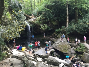 A crowd of civilians enjoying Grotto Falls